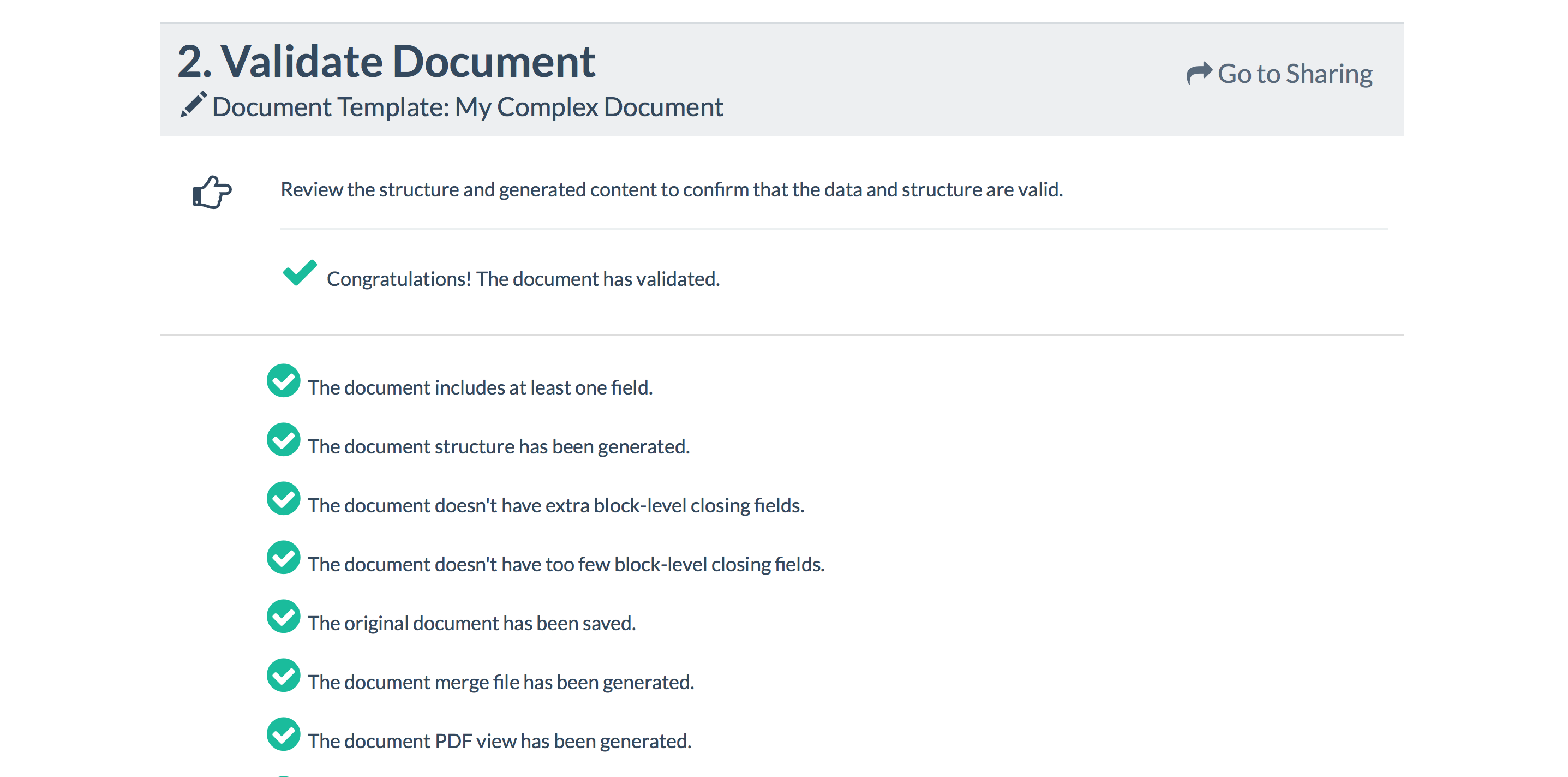 Document automation validate screenshot